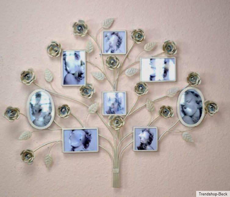 Bilderrahmen mit 8 Bilderrahmenhalter Metall Wanddeko Rahmen Deko ...