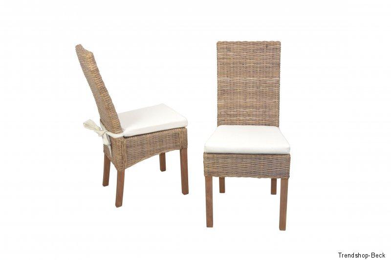 2 Rattanstühle inkl.Sitzkissen Esszimmerstuhl Stuhlgruppe Rattan Stühle
