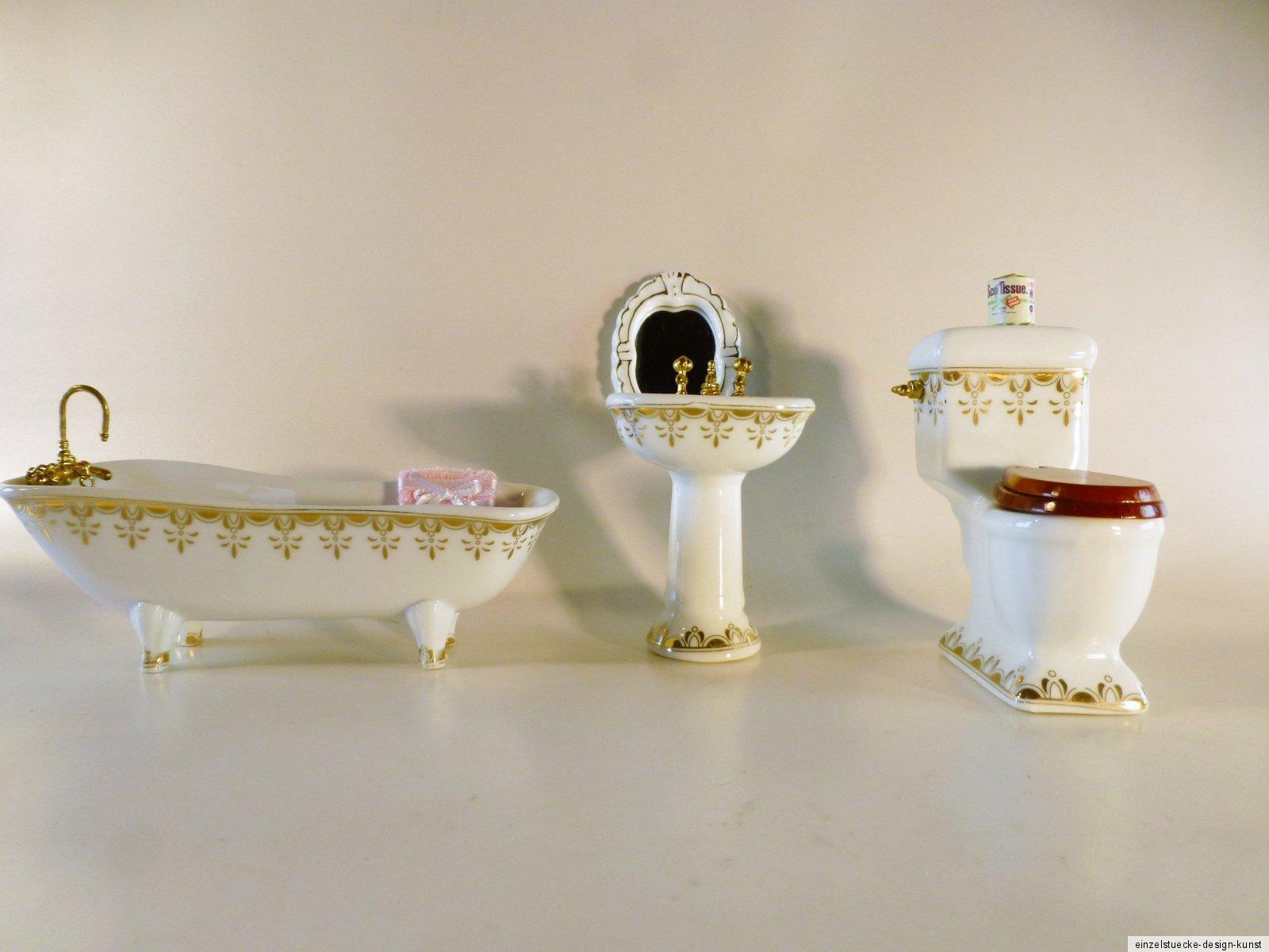 Puppenhaus Badezimmer Porzellan, creme mit Goldmuster, Wanne ...