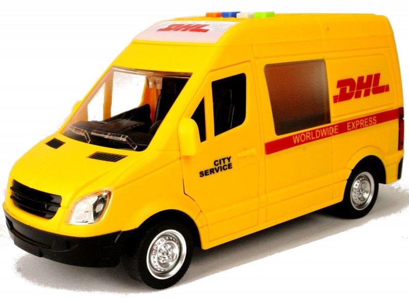 dhl transporter modellauto postauto post kurier auto paketdienst spielzeug 22cm ebay. Black Bedroom Furniture Sets. Home Design Ideas