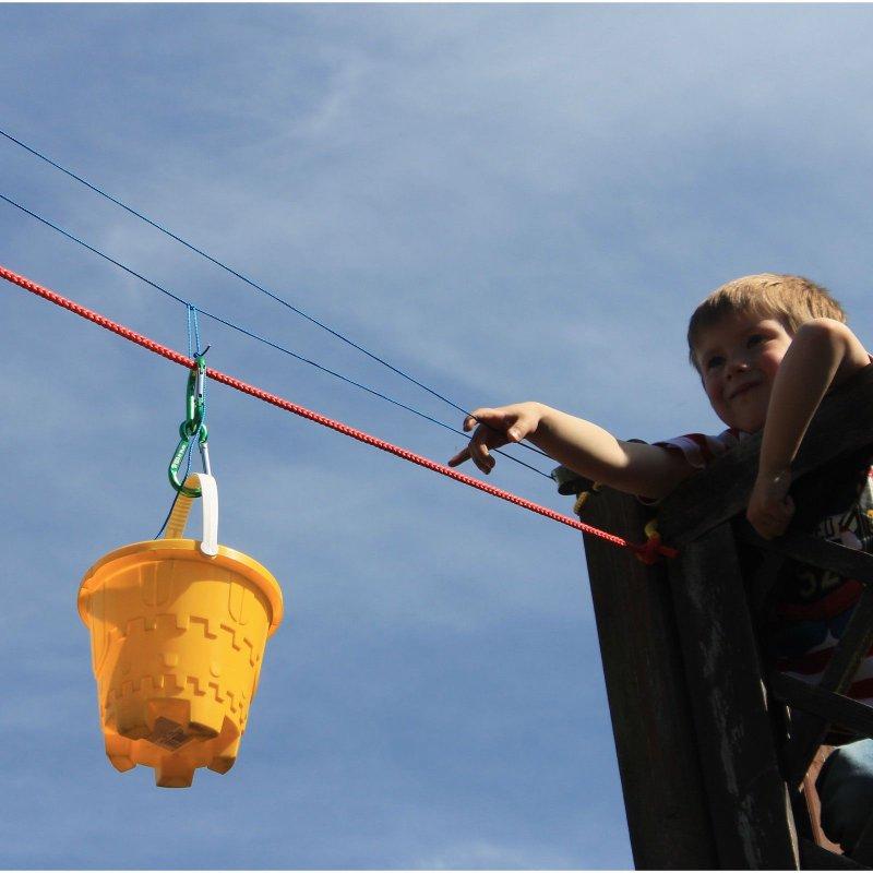 Spielzeug für draußen Seilbahn 10m lang für Spielturm mit Umlenkrollen Karabinerhaken Flaschenzug