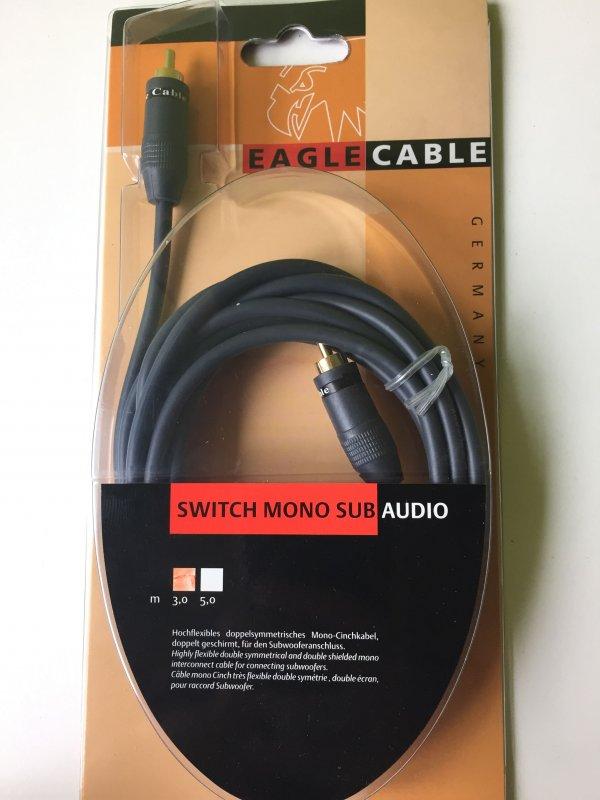 31321103 ~ EAGLE CABLE Switch Mono Sub ~ Cinch Kabel 1 Stecker auf 1 Stecker 3m