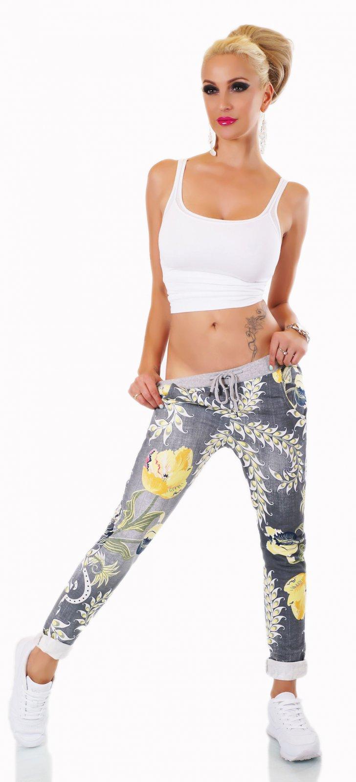 ITALY Damen Hose Sweat Baggy JogPants Freizeithose Blumen Muster grau 36-40