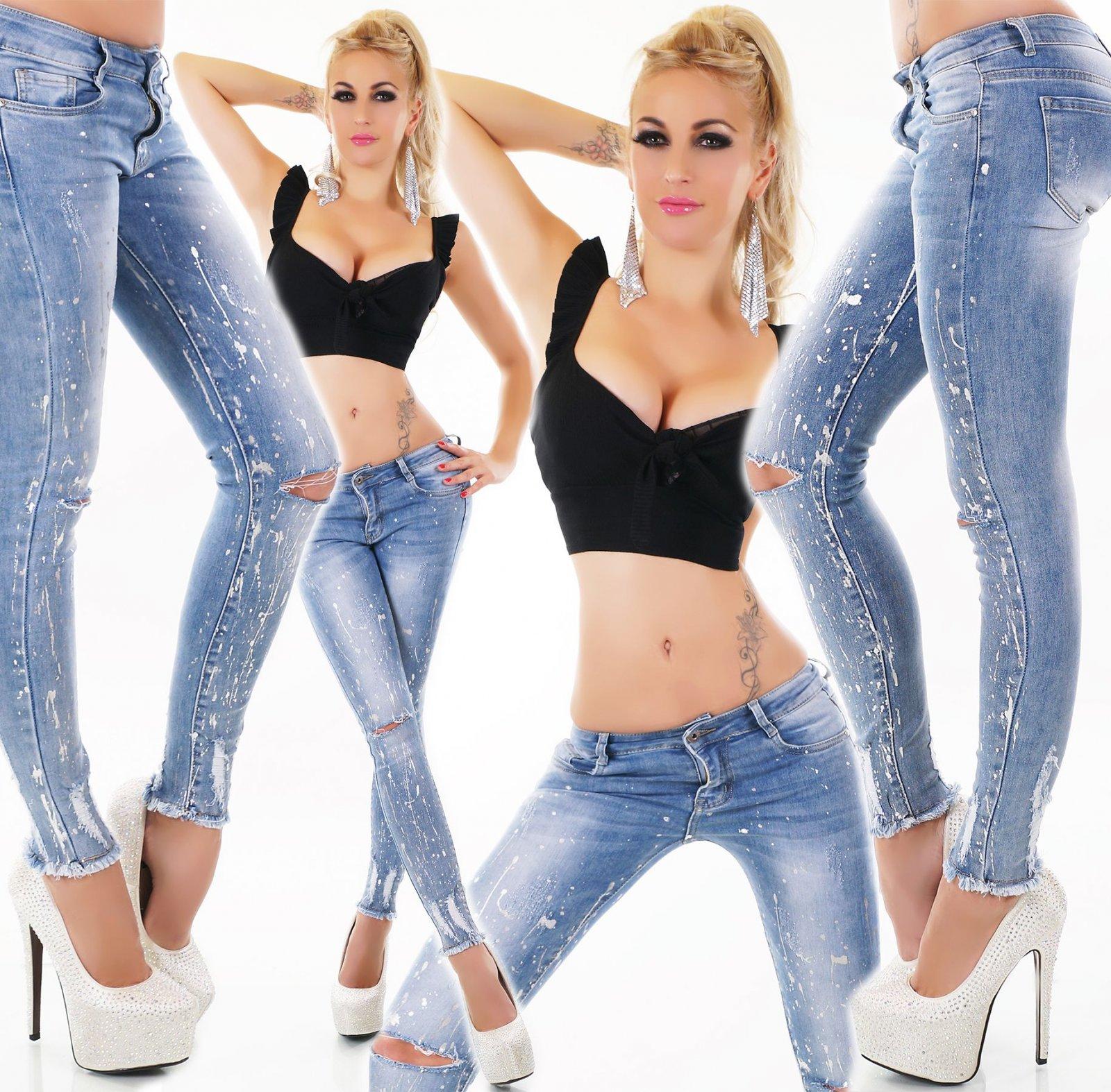 Damen Slim Fit Stretch Röhren Jeans Risse Perlen High Waist 34 36 38 40 schwarz