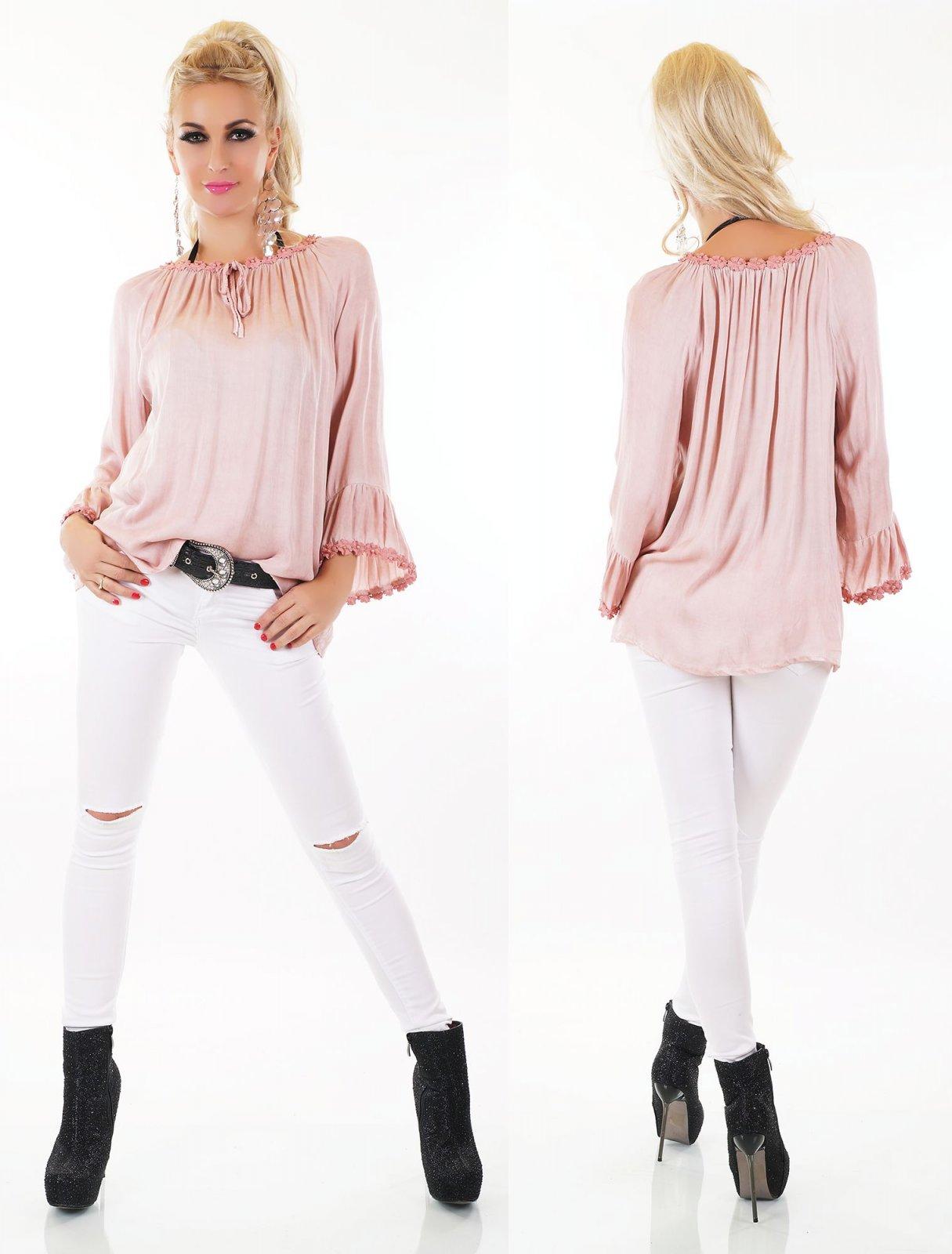 14192437aa7f5 Details zu Italy Damen Bluse Shirt Tunika Carmen Trompetenärmel Perlen Top  36 38 40 42