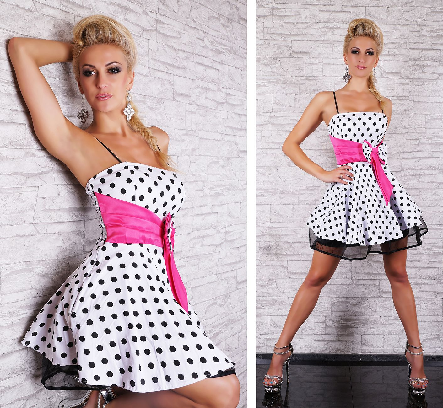 Damen petticoat kleid rockabilly 50er dress punkte schleife unterrock t ll 34 38 ebay - Rockabilly outfit damen ...