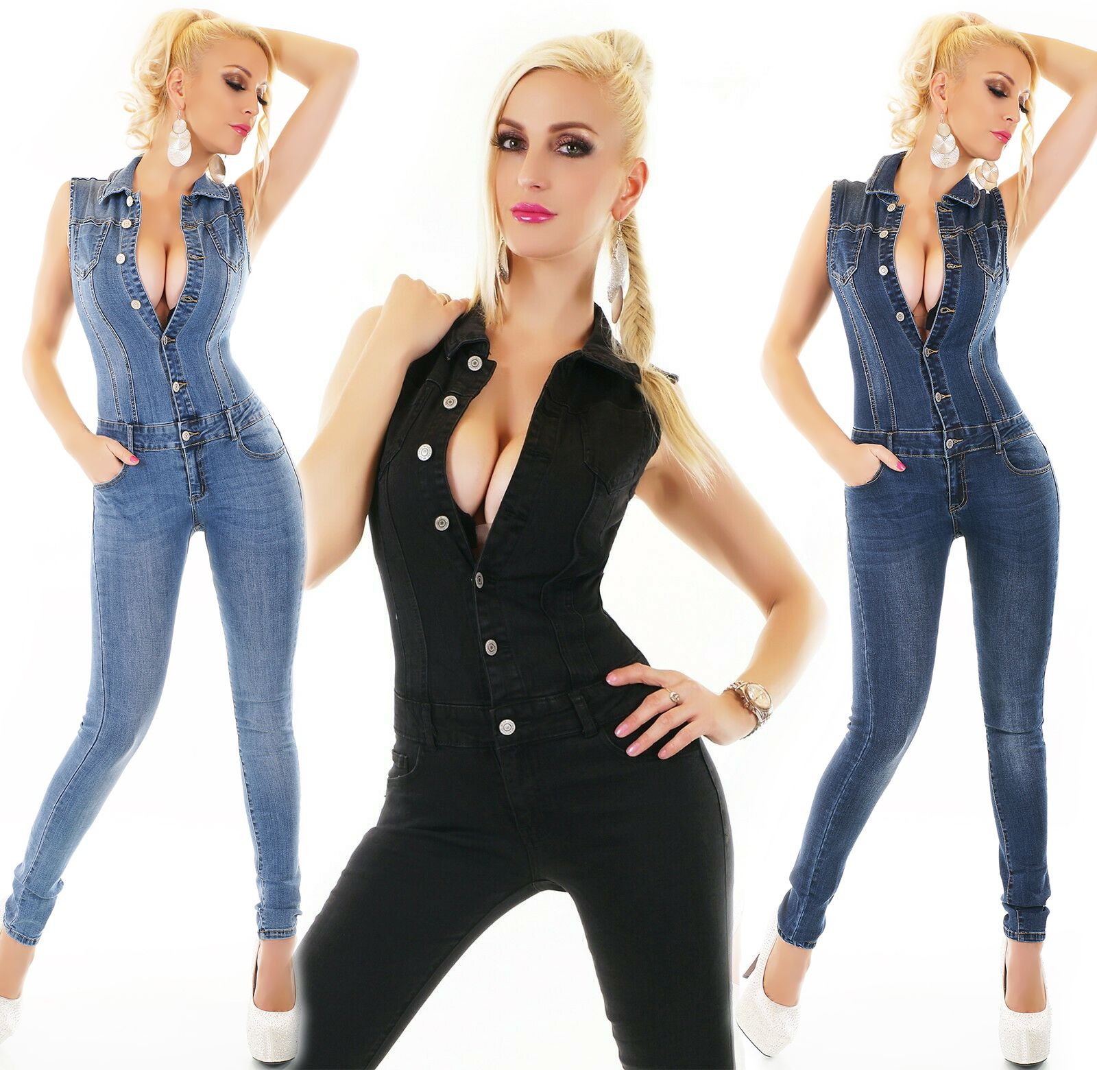 ORIGINAL Damen Hotpants Jeans Overall Einteiler Catsuit Häkel Spitze Fransen