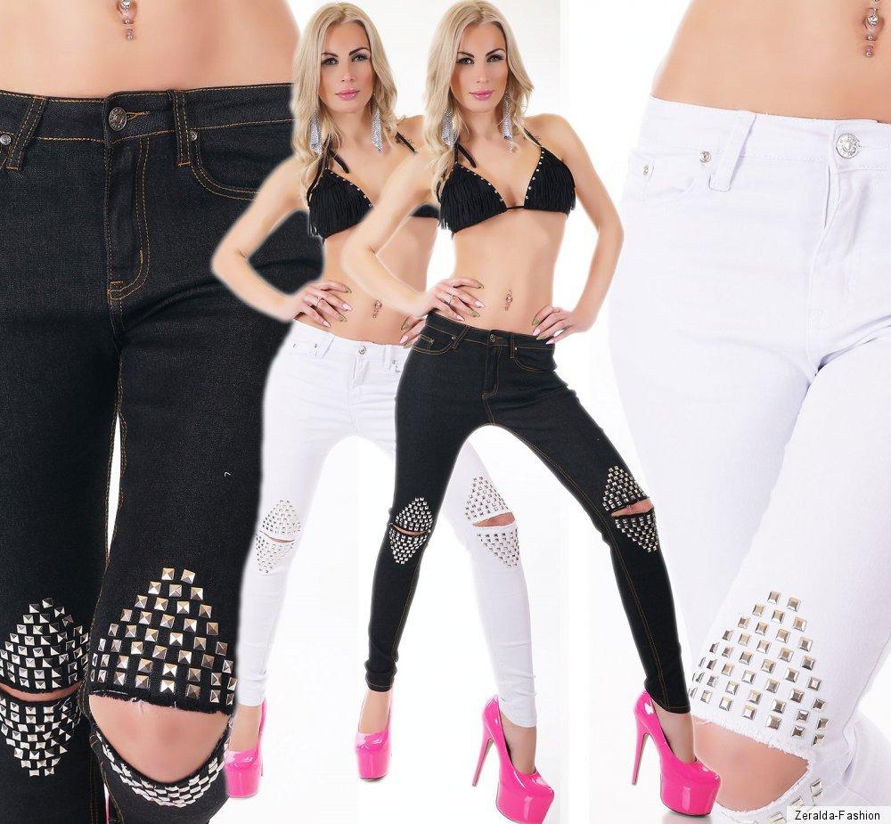Details zu Damen JEANS HOSE SKINNY SLIM FIT STRETCH KNIE RISSE NIETEN schwarz weiß XS XL