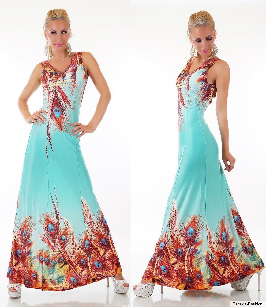 MAXI KLEID LANG SOMMER COCKTAIL PARTY STRAND PFAU MUSTER S ...