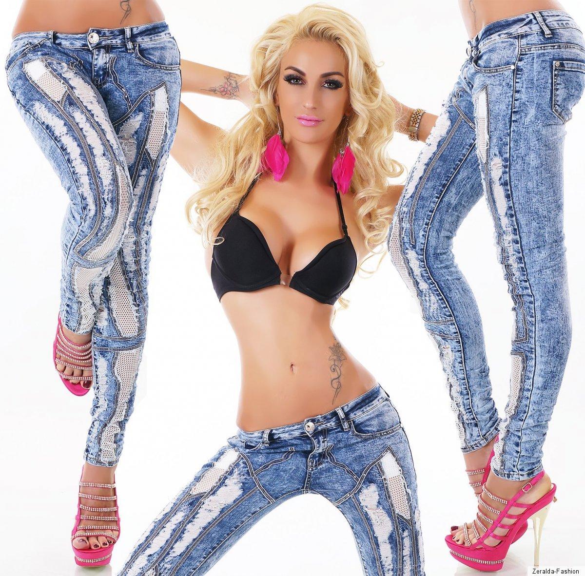 Damen Mozzaar Destroyed Hüft Skinny Jeans 4309 Ital-design