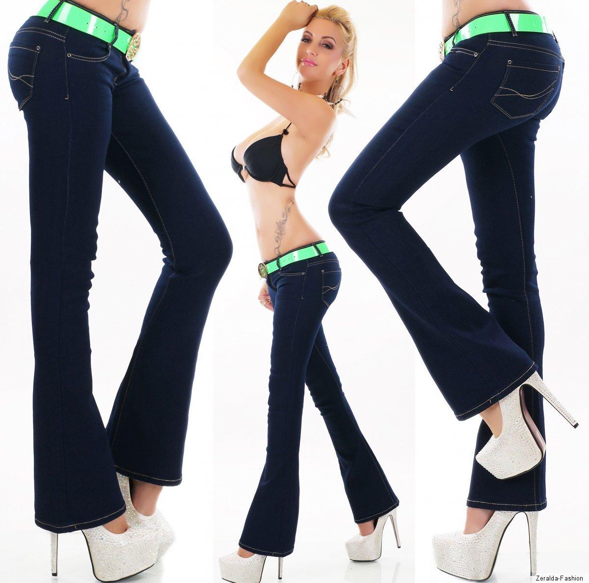 Damen Hüft Jeans Hose Schlag BootCut Denim incl Gürtel Stone Washed XS-XL