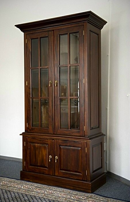 schrank b cherschrank buchregal b cherregal vitrine mahagoni massiv ebay. Black Bedroom Furniture Sets. Home Design Ideas