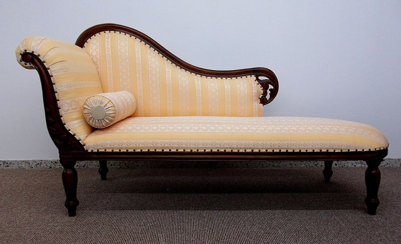 couch recamiere ottomane mahagoni holz brown walnuss textil streifen ebay. Black Bedroom Furniture Sets. Home Design Ideas