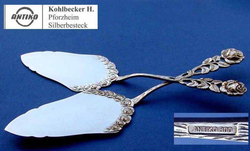 800er Silber B698 Tortenheber Antiko Rosendekor// Hildesheimer Rose