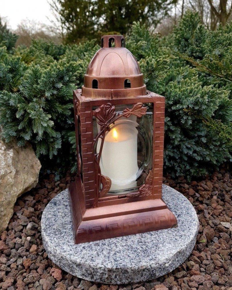 Grablaterne mit Sockel Grablampe Grableuchte Granit Grablicht Kerze Grabstein