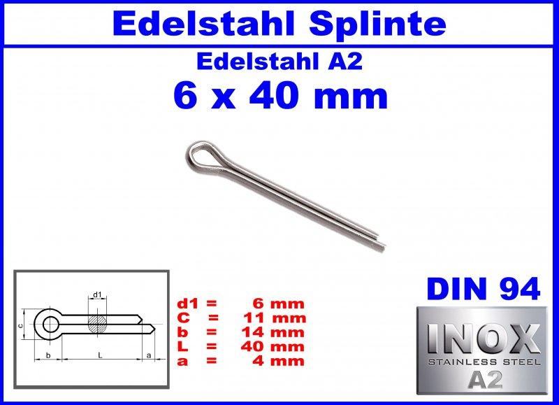 V2A DIN 94 Splinte 3,2 x 40 Edelstahl