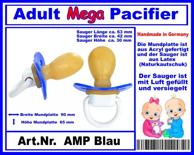 ++++ DS AMP Blue ++++ Nr Big Adult Mega Pacifier   AMP Blue