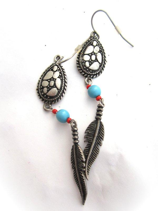 tolle lange indianer ohrringe edelstahl navajo stil mit türkis similis