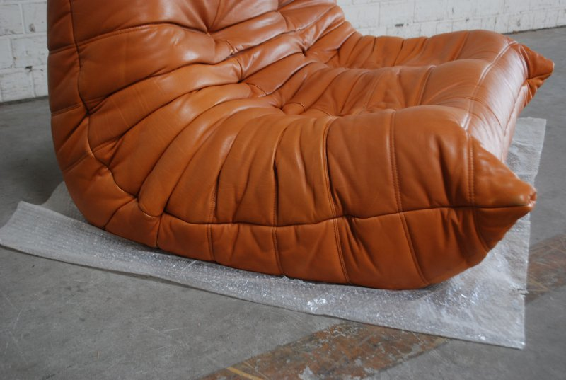 original ligne roset togo ledersofa cognac vintage ebay. Black Bedroom Furniture Sets. Home Design Ideas