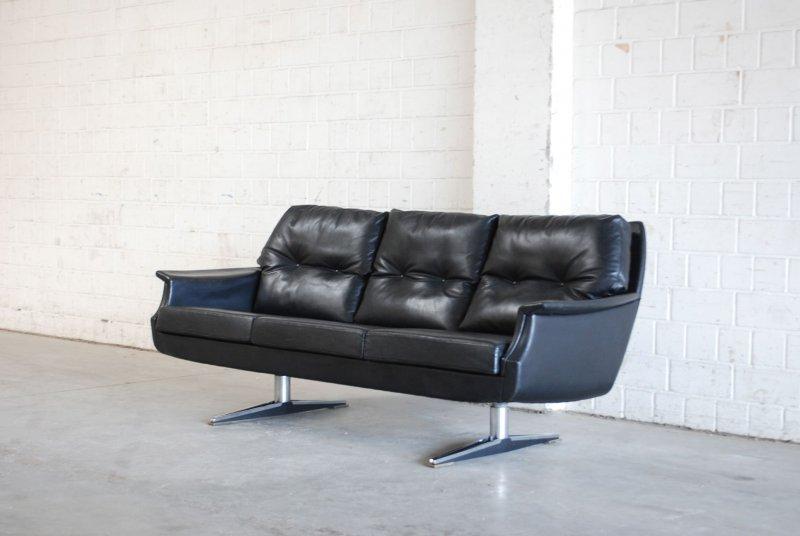VINTAGE LEDERSOFA SOFA 60er / 70er KNOLL ÄRA schwarz Leder chrom | eBay