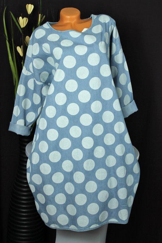 neu oversize jeanskleid tunikakleid polkadots hellblau wollwei gr 46 48 50 ebay. Black Bedroom Furniture Sets. Home Design Ideas