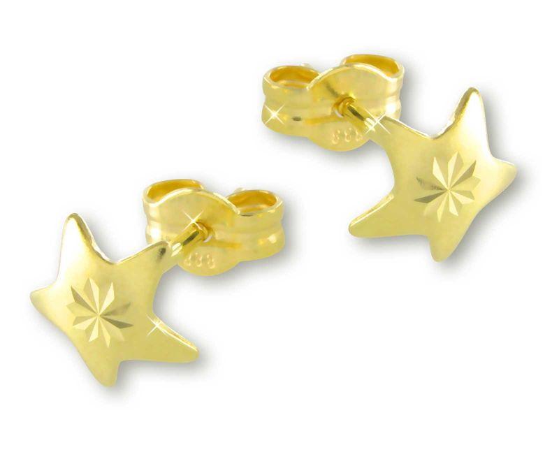 NEU Ohrstecker Blätter echt GOLD 8 Karat 333 mattiert Diamantschliff Ohrringe