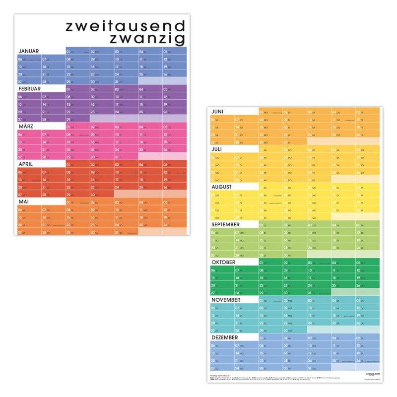 Türkalender Wandkalender Wandplaner Jahresplaner Kalender 2020 A2lang Regenbogen