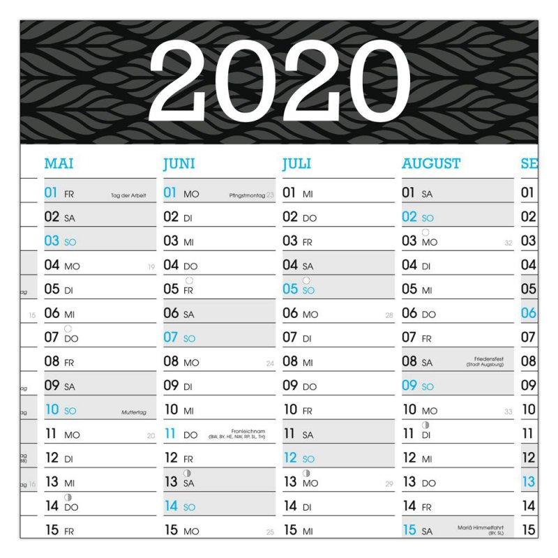 Wandkalender Wandplaner Jahresplaner Kalender 2020 DIN A1 GEFALTET Grau