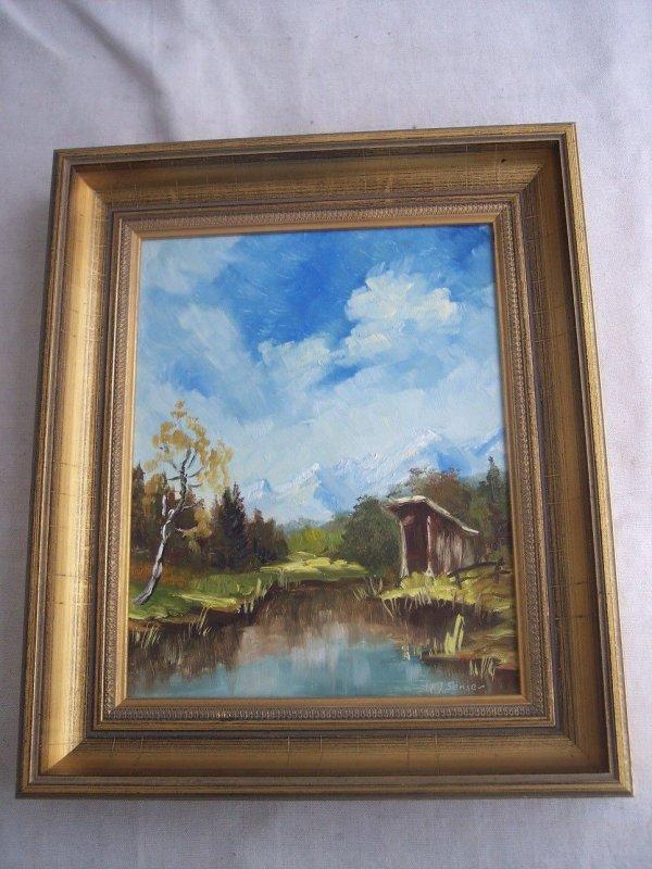 Gemälde Ölbild Landschaft am See mit Hütte signiert H. J. Senser ...