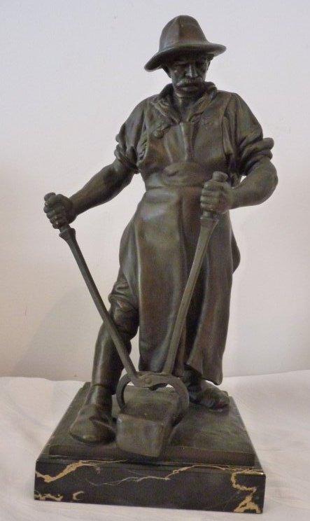 Bronze Figur Stahlarbeiter Friedrich Reusch Königsberg 39 Cm Wmf Geislingen Antiquitäten & Kunst Metallobjekte