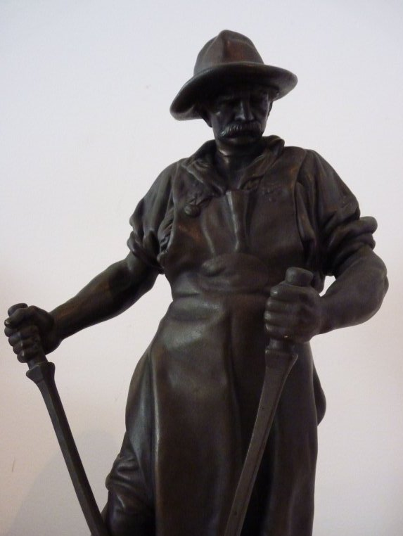 Bronze Figur Stahlarbeiter Friedrich Reusch Königsberg 39 Cm Wmf Geislingen Metallobjekte Bronze