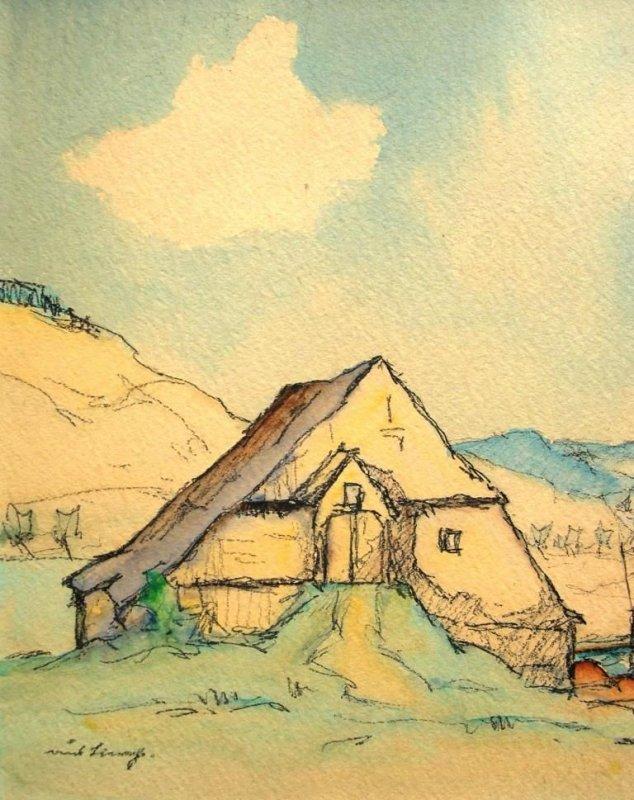 Guido Schreiber 1886-1979 Villingen / Aquarell Michaelskapelle ...