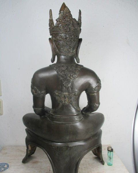 alte grosse buddha statue aus thailand 1965 bronze ayutthaya stil 61cm 14kg ebay. Black Bedroom Furniture Sets. Home Design Ideas