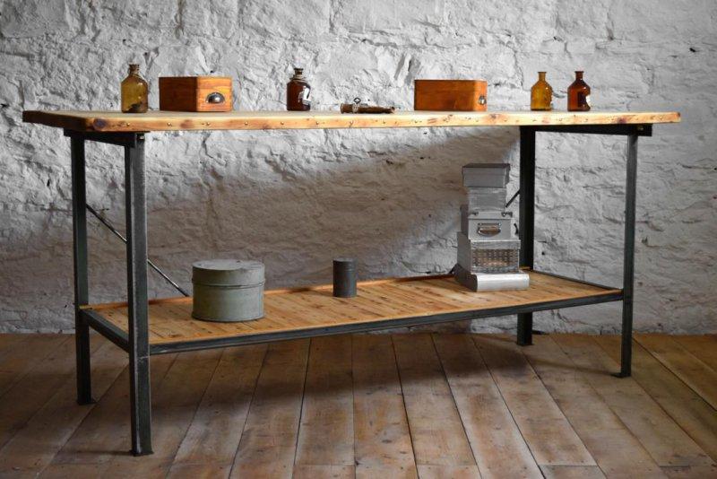 Werkbank Loft Tisch Antik Metall Holz Anrichte Bauhaus Alt ...