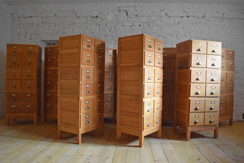 9 x schubladenschrank alt antik apothekerschrank loft vintage holz fabrik gro ebay. Black Bedroom Furniture Sets. Home Design Ideas