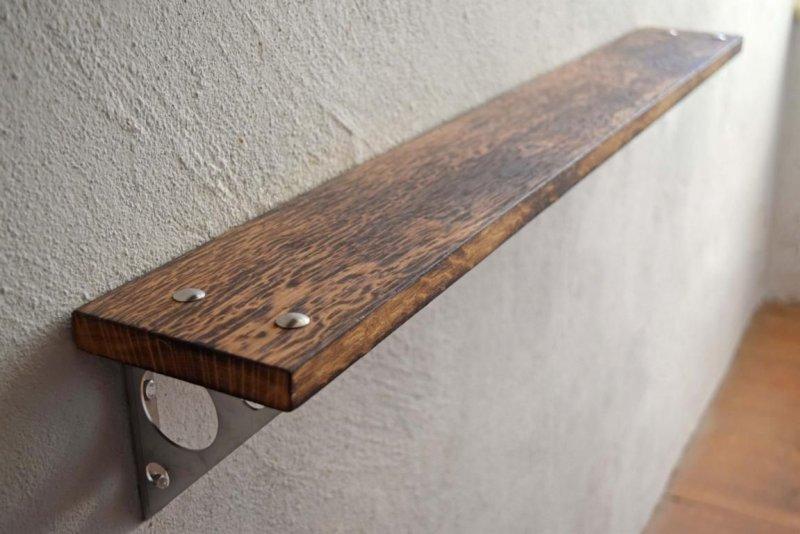 wandregal loft vintage eiche massiv wandboard industriedesign holz edelstahl ebay. Black Bedroom Furniture Sets. Home Design Ideas