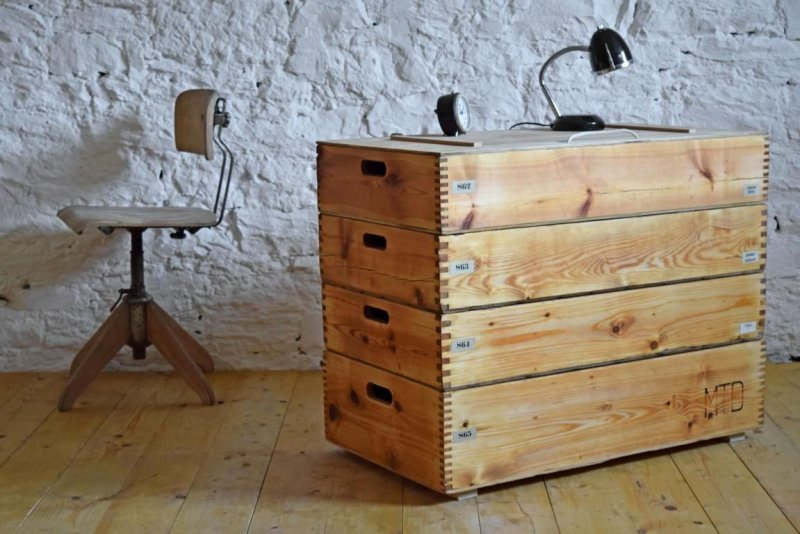 sideboard vintage fabrik loft antik stapelkisten gro holz alt kiste truhe ebay. Black Bedroom Furniture Sets. Home Design Ideas
