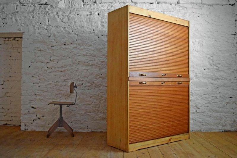 rollladenschrank antik aktenschrank holz rolladenschrank alt b roschrank loft ebay. Black Bedroom Furniture Sets. Home Design Ideas