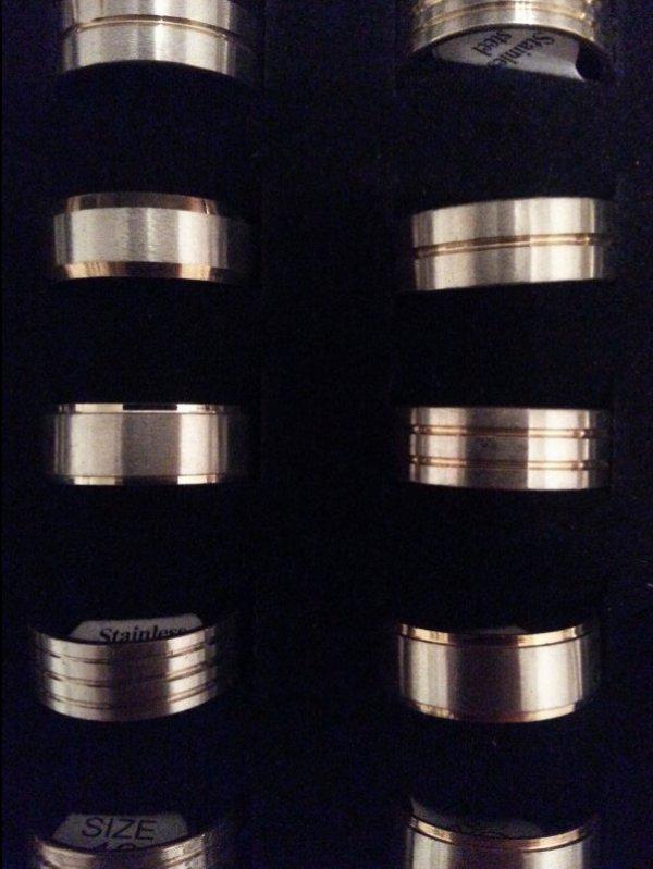 Modeschmuck Ring Edelstahl Farbe bicolor Dicke 10mm diverse Designs Gr 17-22 #46