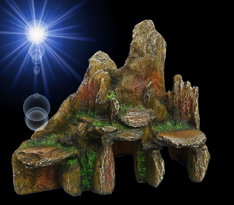 aquarium deko gebirge mit h hle barsche welse terrarium versteck zubeh r ebay. Black Bedroom Furniture Sets. Home Design Ideas