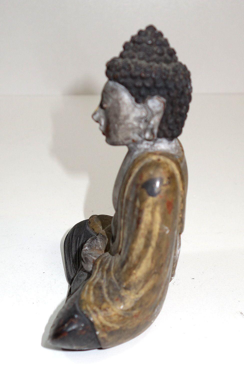Skulptur Bronze teilpoliert betender Buddha Südostasien