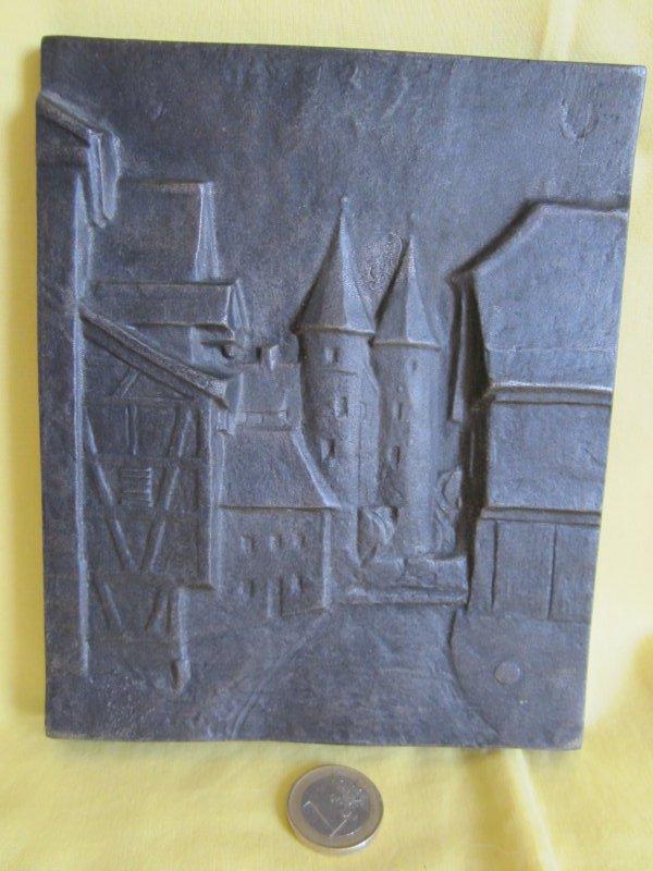 Ofenplatte Kaminplatte Wandrelief Bauernwagen Historische Wanddekoration