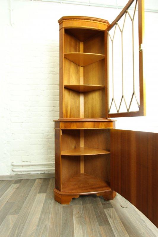 traumhafte seltene eck vitrine toll furniert antik stil heldensee englisch top ebay. Black Bedroom Furniture Sets. Home Design Ideas