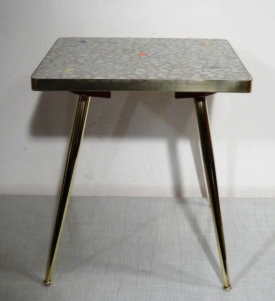 rockabilly shabby chic kl mosaic brass leaning flowers table stool 50er ebay. Black Bedroom Furniture Sets. Home Design Ideas