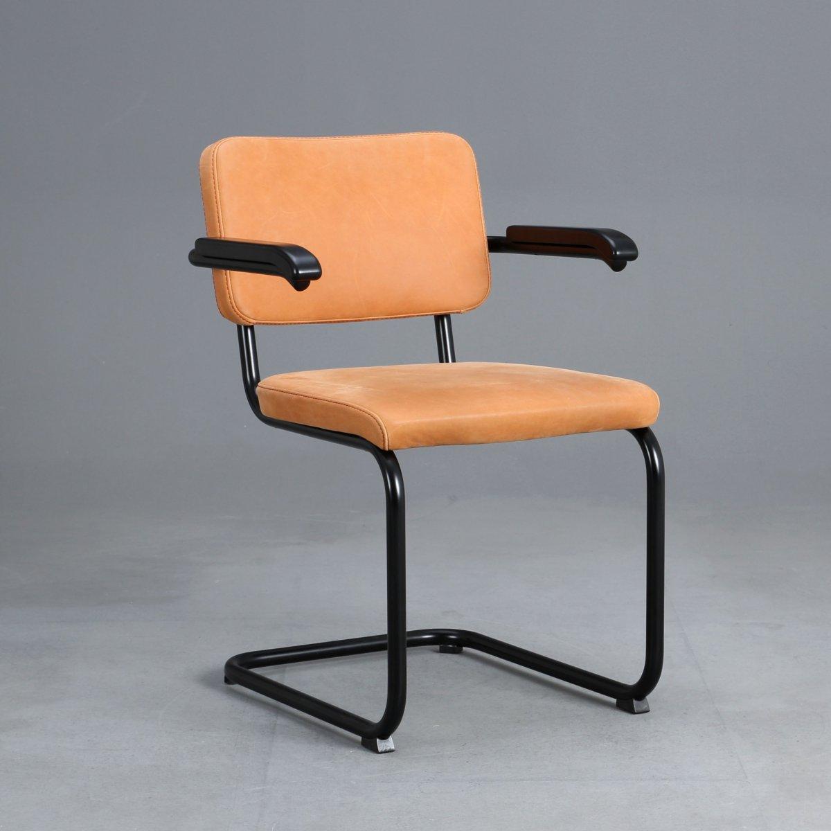 thonet s64 pv leder freischwinger in schwarz bauhaus klassiker stuhl breuer ebay. Black Bedroom Furniture Sets. Home Design Ideas