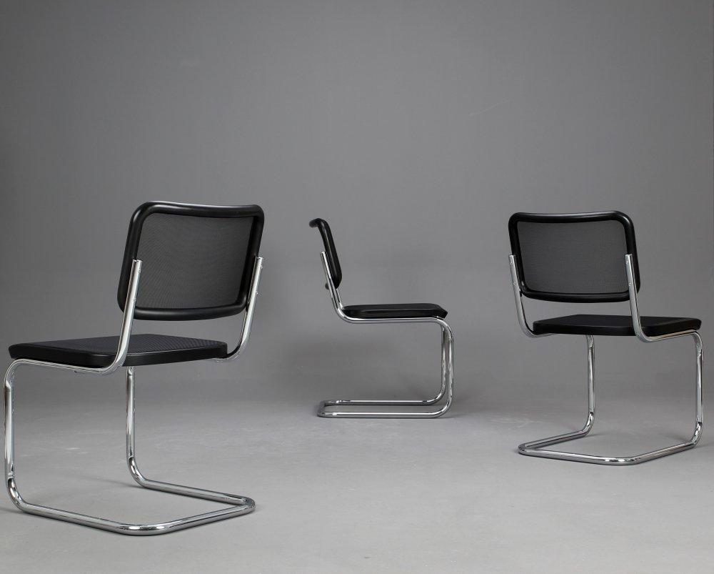 thonet s32 n bauhaus freischwinger stuhl schwarz mit. Black Bedroom Furniture Sets. Home Design Ideas
