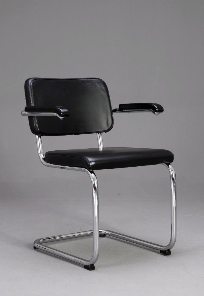 thonet s64 pv leder freischwinger bauhaus klassiker stuhl schwarz ebay. Black Bedroom Furniture Sets. Home Design Ideas