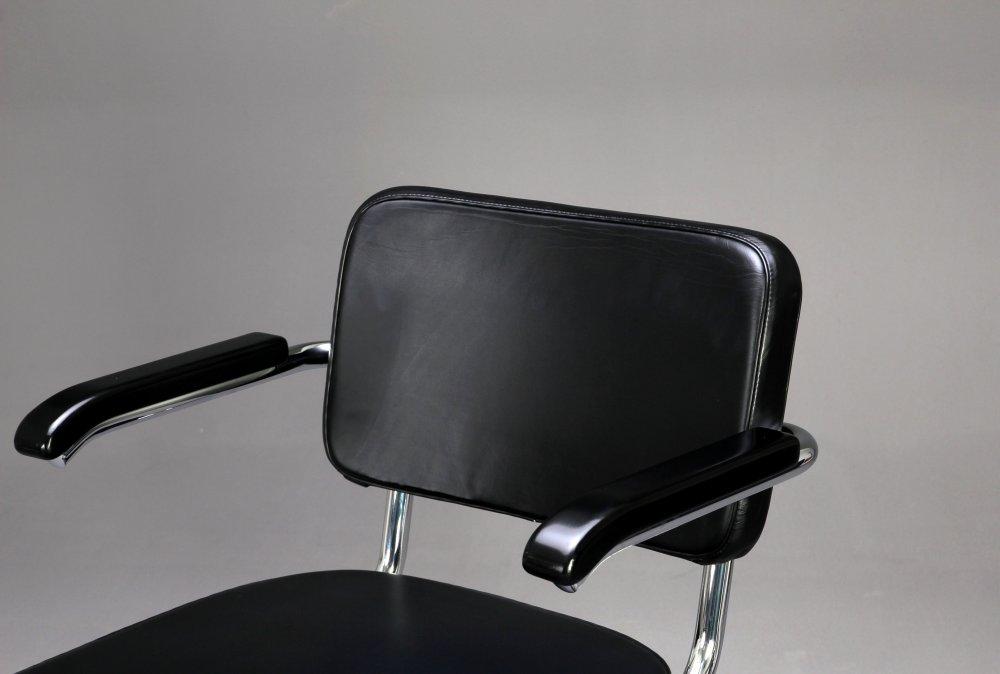thonet s64 pv leder freischwinger bauhaus klassiker stuhl schwarz ebay. Black Bedroom Furniture Sets. Home Design Ideas