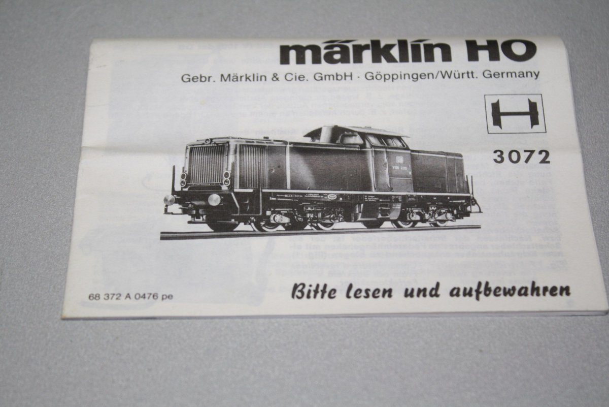Marklin Betriebsanleitung 3072 Diesellok V100 212 Db 0476pe Spur