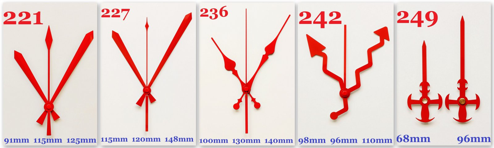Zeiger Zeigersatz Uhrzeiger Uhrzeigerset TOP Aluminium Metall rot 100 mm *101